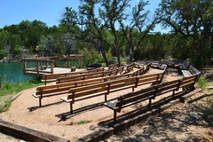 Texas Lake amphitheater. An amphitheater looks out over a beautiful lake Royalty Free Stock Photography