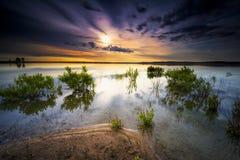 Texas Lake Sunrise. Texas sunrise over Benbrook Lake under a moody sky Royalty Free Stock Photography