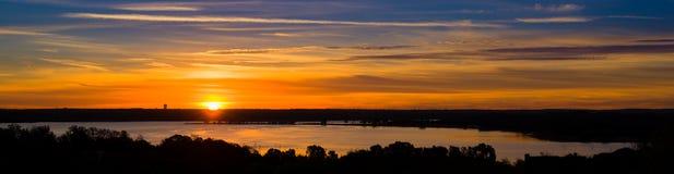 Texas Lake Sunrise Panorama Royalty-vrije Stock Foto