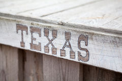 Texas lettering on wooden plate, inscription Stock Photo