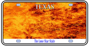 Texas License Plate Flames. Texas License Plate in flame over a white background Stock Images