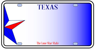 Texas License Plate. In red white and blue with Lone Star State text over a white background Stock Photography