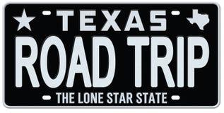 Texas License Plate Road Trip-Wijnoogst vector illustratie