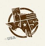 Texas The Lone Star de V.S. verklaart Creatief Vectorconcept op Natuurlijke Document Achtergrond Stock Fotografie