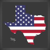 Texas map with American national flag illustration. In artwork style Royalty Free Stock Images