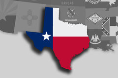Texas map and flag. Illustration of the State of Texas silhouette map and flag. Its a JPG image Stock Image