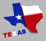 Texas, map & flag, isolated on gray, clipping path. Texas, map with flag, isolated on grey, with clipping path, 3d illustration Stock Images