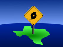 Texas map with hurricane sign. Hurricane warning sign on Texas map illustration Royalty Free Stock Image