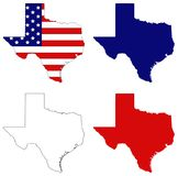 Texas map with USA flag - the second largest state in the United States. Vector file of Texas map with USA flag - the second largest state in the United States Royalty Free Stock Images