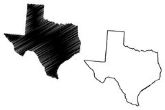 Texas map vector. Illustration, scribble sketch Texas map Royalty Free Stock Image