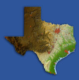 Texas, mapa de relevo Ilustração do Vetor