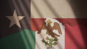 Texas och mexicansk väldeflagga Arkivbilder