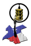 Texas Oil. Texas booming oil field industry pouring black gold Stock Photo