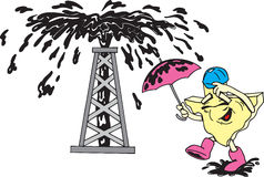 Texas Oil Man. Texas shaped cartoon with Oil well Stock Photo