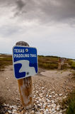 Texas Paddling Trail Sign. A fish eye shot of signage marking a paddling trail in Texas Stock Images