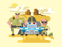Texas police flat style. Texas police. Cop officer, law and sheriff, vehicle with siren, security and policeman. Flat vector illustration Stock Image