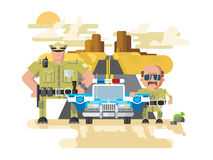 Texas police flat style. Texas police. Cop officer, law and sheriff, vehicle with siren, security and policeman. Flat vector illustration Stock Images