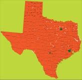 Texas-politische Karte Stockfotografie