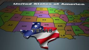 Texas pull out from USA states abbreviations map. State Texas pull out from USA map with american flag on background. A map of the US showing the two-letter stock video footage