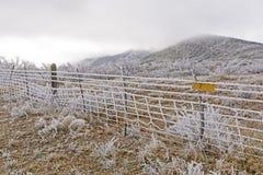 Texas Ranch en una tormenta de hielo Fotografía de archivo
