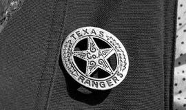 Texas Ranger Badge. Old Texas ranger cowboy badge in black and white Royalty Free Stock Image