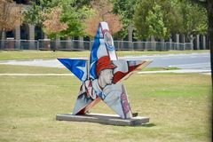 Texas Rangers Baseball Player Exhibit buiten het Stadion van het Bolleven royalty-vrije stock foto