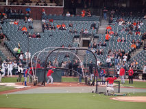 Texas Rangers batter take batting practice Royalty Free Stock Photo