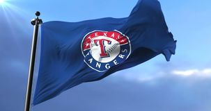 Texas Rangers-Teamflagge, amerikanisches Team des professionellen Baseballs, bewegend - Schleife wellenartig stock abbildung
