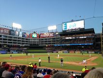 Texas Rangers warming up in between innings stock photography