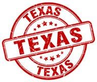 Texas red grunge round stamp Stock Image