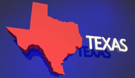Texas Red State Map TX ordnamn royaltyfri illustrationer