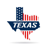 Texas Red White Blue Map Fotografia Stock Libera da Diritti