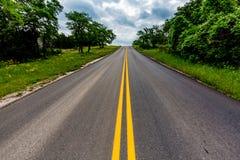 Texas Road mit Wildflowers auf Seite Stockbild