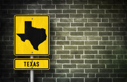 Texas. Road sign with Texian map illustration Royalty Free Stock Photography