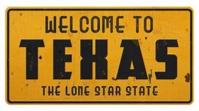 Texas Road Sign Welcome aan Texas Grunge royalty-vrije stock afbeeldingen
