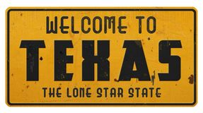 Free Texas Road Sign Welcome To Texas Grunge Royalty Free Stock Images - 122936099
