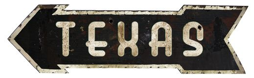 Texas Roadsign Arrow. Road Sign Metal Old Grunge Retro vintage steel Royalty Free Stock Image