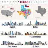 Texas`s vector high detailed map showing counties formations. Largest cities skylines of Texas. State Stock Photo