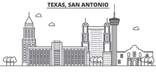 Texas San Antonio architecture line skyline illustration. Linear vector cityscape with famous landmarks, city sights. Design icons. Editable strokes Royalty Free Stock Photos