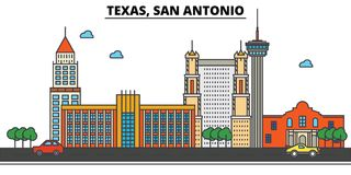 Texas, San Antonio.City skyline. Texas, San Antonio.City skyline: architecture buildings, streets silhouette, landscape panorama, landmarks. Editable strokes Royalty Free Stock Photo