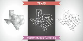 Texas-Satz Grau und polygonale Karten des Silbermosaiks 3d Grafische Vektordreieckgeometrieentwurfs-Schattenperspektive zeichnet  Lizenzfreie Stockfotos
