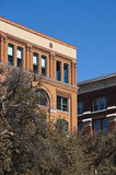 Texas School Book Depository, Dallas, TX, Kennedy. Closeup of the sixth floor window where Lee Harvey Oswald was located when he assassinated President John F royalty free stock photo