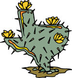 Texas Shaped Cactus. With yellow flowers Stock Photo