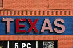 Texas Sign on Discount Store. Dilapidated sign and building of a discount business in Austin, Texas Royalty Free Stock Photos