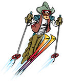 Texas Ski. Cowboy jumping and skiing with chaps and hat Royalty Free Stock Photos