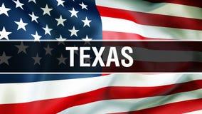 Texas-Staat auf einem USA-Flaggenhintergrund, Wiedergabe 3D Staaten von Amerika fahnenschwenkend im Wind Stolze wellenartig beweg stock abbildung