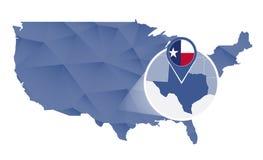 Texas State ampliou no mapa do Estados Unidos ilustração royalty free