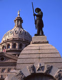 Texas State Capitol & Alamo Statue. A statue remembering the Alamo and the Texas State Capitol Building in Austin, Texas Stock Photography