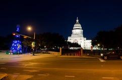 Texas State Capitol byggnad på natten Arkivfoto