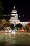 Texas State Capitol-de bouw bij nacht Royalty-vrije Stock Foto's